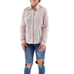 BURBERRY Fitted Cotton Button Up Blouse #ZZ17